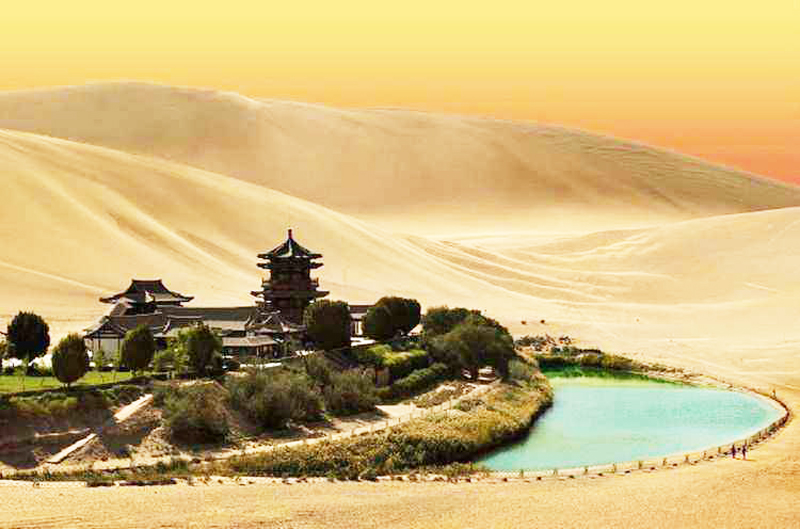 Crescent spring in dunhuang