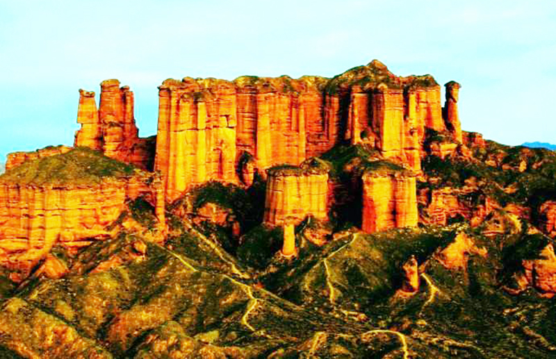 the Binggou Danxia Land-form in zhangye