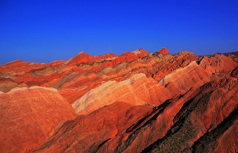 the sunset of Danxia Scenic in zhangye